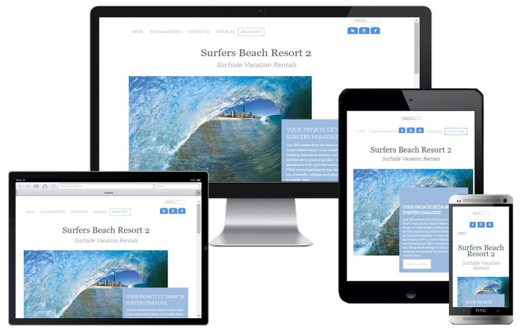 Surfers Beach Resort 2 Website with Booking Option