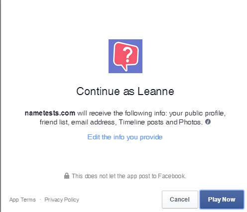 Facebook Quizzes nametests profile info request