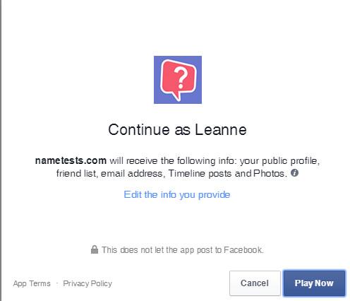 Facebook Quizzes nametests profile info request